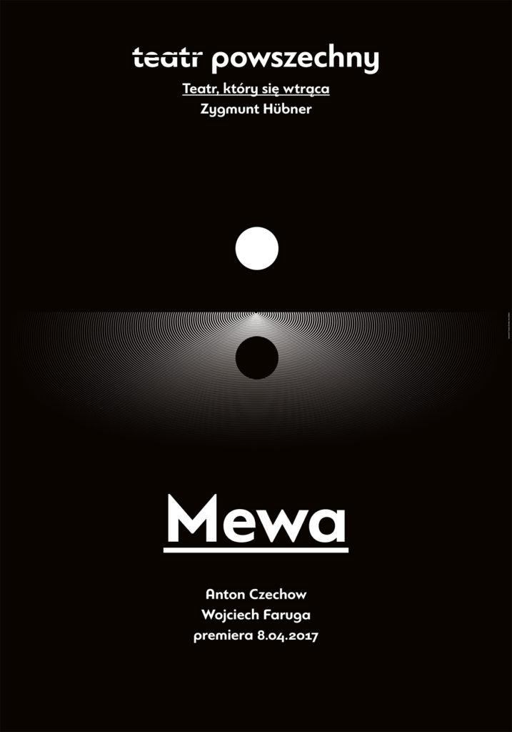 """Plakat """"Mewy"""" Czechowa wreż. Wojciecha Farugi"""