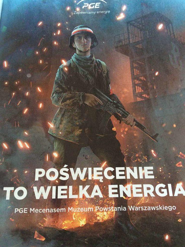 reklama PGE zpowstańcem warszawskim