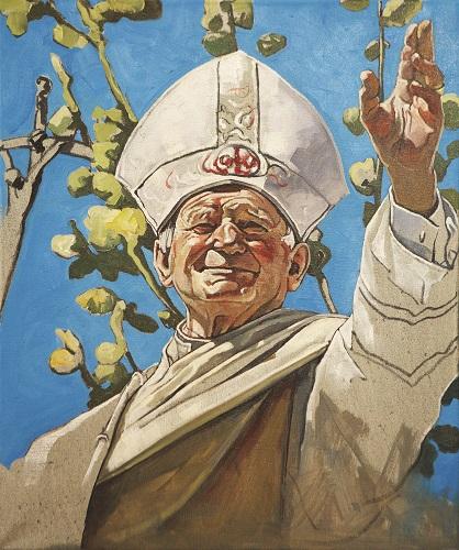 """The Krasnals, Whielki Krasnal, """"Papież Jan Paweł II leworęcznie błogosławiący"""""""