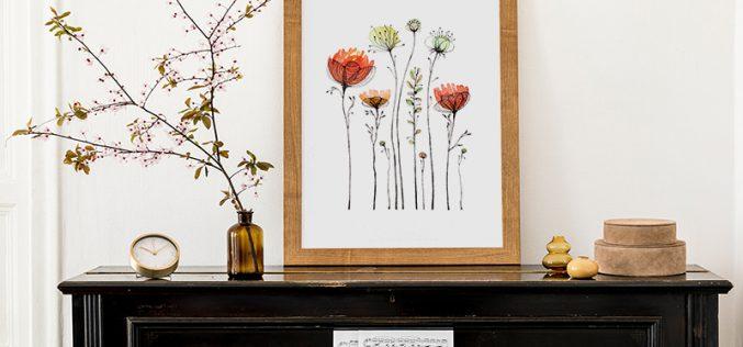 Plakat zkwiatami – poznaj nasze pomysły nafloralne dekoracje wnętrza